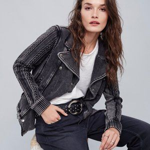 Free People Ruffle Moto Sweater Jacket XS